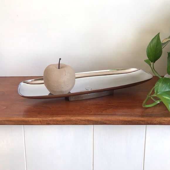 Mid Century Stainless Steel and Teak Serving Tray